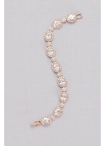 Cubic Zirconia Pave Halo Link Bracelet - Wedding Accessories