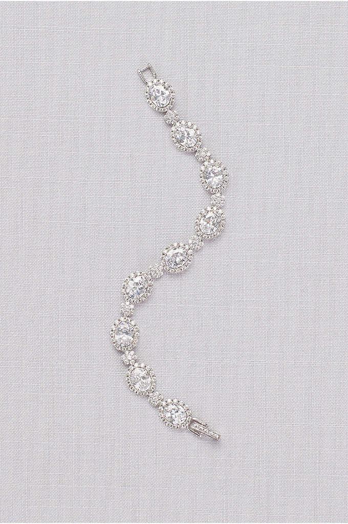 Cubic Zirconia Pave Halo Link Bracelet - Chunky gems and fine pave stones blaze brightly