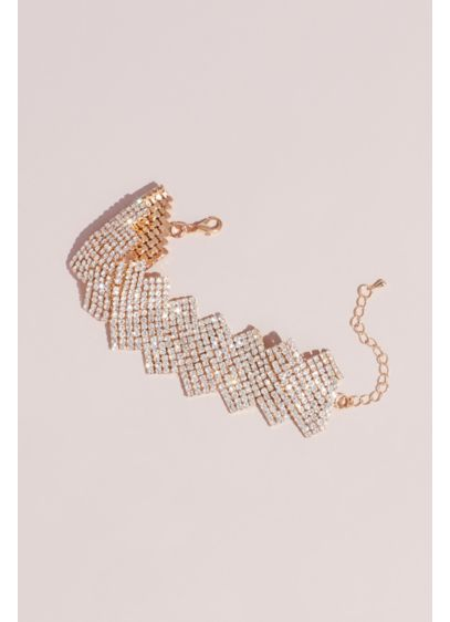Crystal Zigzag Statement Bracelet - Rows of crystal mesh move in a fluid