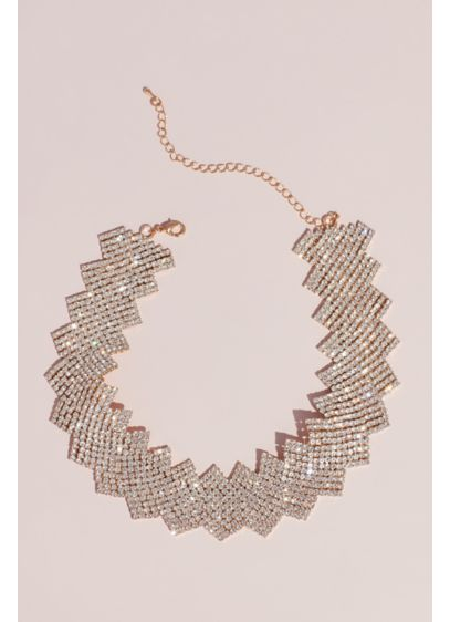 Crystal Zigzag Statement Necklace - Rows of crystal mesh move in a fluid