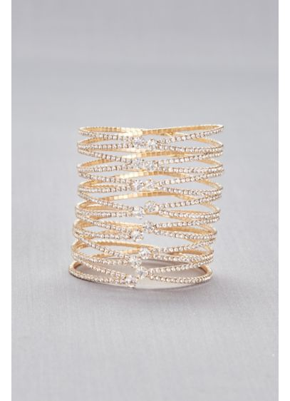 Crystal-Encrusted Overlapping Bangle Bracelet - Wedding Accessories