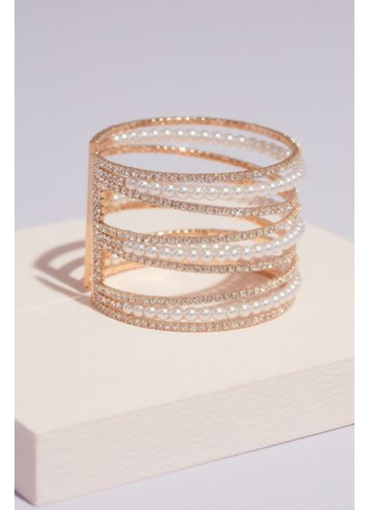 Crystal and Pearl Triple Band Cuff Bracelet - This luxe cuff bracelet will add a touch
