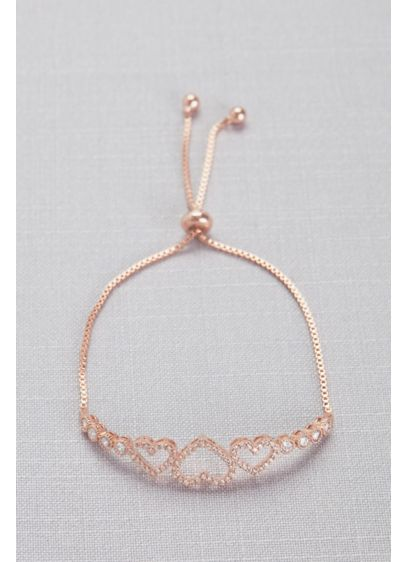 Grey (Cubic Zirconia Three Heart Pull-Back Bracelet)