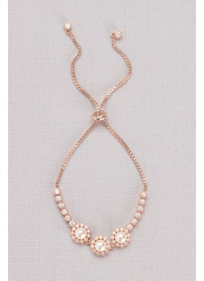 Cubic Zirconia Pearl Blossom Pull-Back Bracelet - A trio of luminous pearls are surrounded by