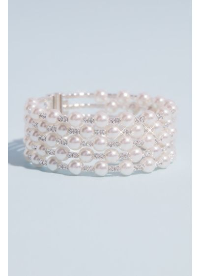 Multi Strand Crystal and Pearl Stack Cuff Bracelet - This ultra-elegant bracelet is crafted from five rows