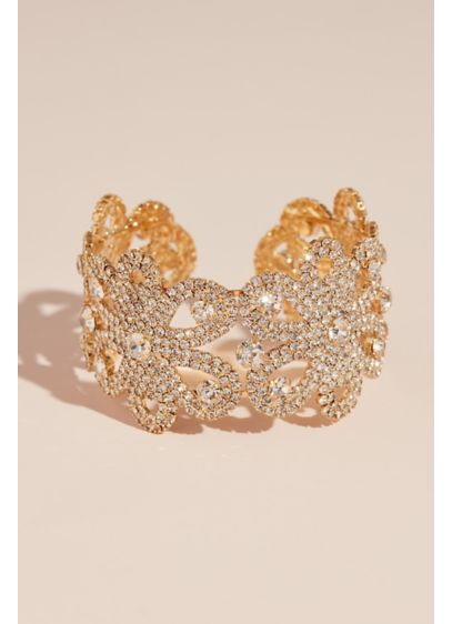 Crystal Blooming Flower Patterned Cuff Bracelet - Wedding Accessories