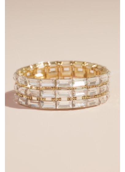 Natasha Yellow (Triple Row Crystal Baguette Stretch Bracelet)