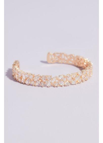 Mixed Stone Cubic Zirconia Cuff Bracelet - Wedding Accessories