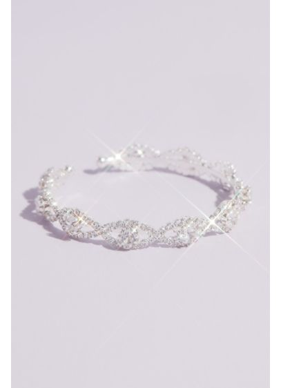 Pave Infinity Links Crystal Cuff Bracelet - A strand of infinity links, formed from brilliant