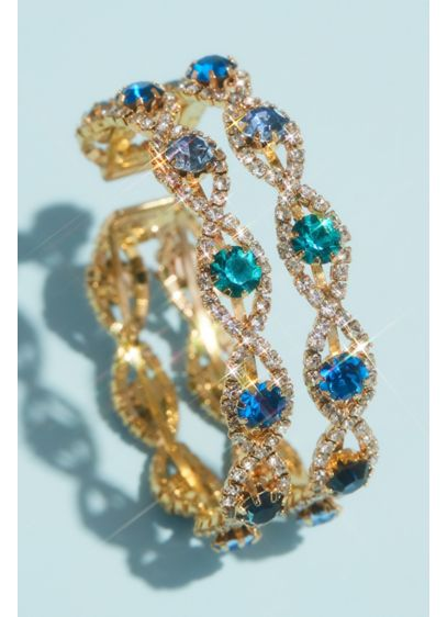 Pave Infinity Cuff Bracelet with Accent Gemstones - Wedding Accessories