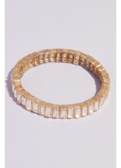 Crystal Baguette Stretch Bracelet - Neat rows of light-catching baguette crystals line up