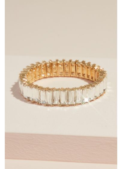 Oversized Crystal Baguette Stretch Bracelet - Oversized rows of light-catching baguette crystals line up