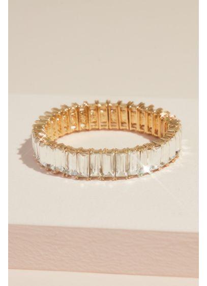 Oversized Crystal Baguette Stretch Bracelet - Wedding Accessories