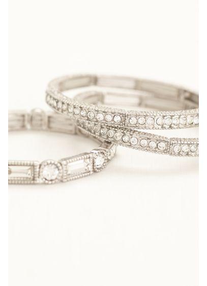 David's Bridal Grey (Set of 3 Crystal Stretch Bangles)