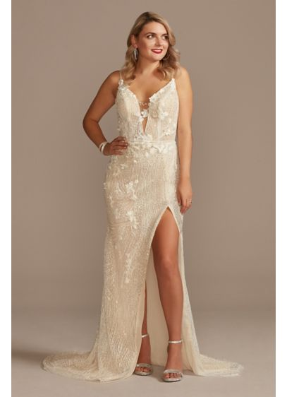 Beaded Plunge Wedding Dress with High Slit - Ready for a jaw-dropping entrance? This captivating wedding
