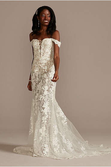 Embellished Illusion Lace Bodysuit Wedding Dress