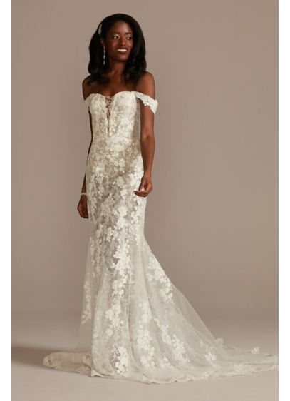 Embellished Illusion Lace Bodysuit Wedding Dress - Featuring two different types of sequin lace appliques,