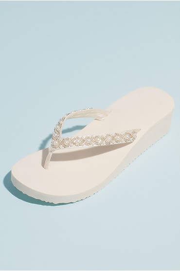 Bead and Pearl Satin Strap Thong Platform Sandals