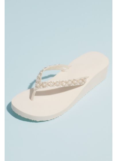 David's Bridal Ivory (Bead and Pearl Satin Strap Thong Platform Sandals)