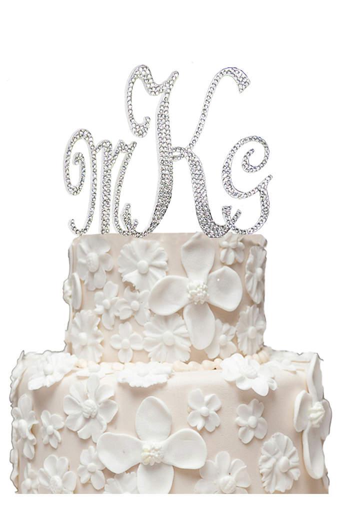 Monogram Cake Topper with Swarovski Crystals - These stunning Swarovski crystal 3 letter classic monogram