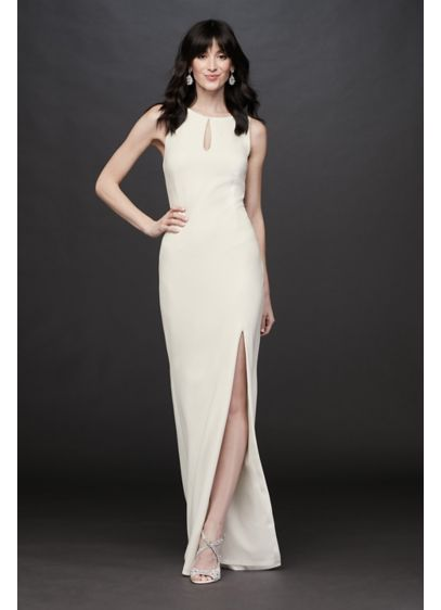 Beaded Illusion Back Stretch Crepe Sheath Gown - A dress with wow-factor, this stretch crepe sheath