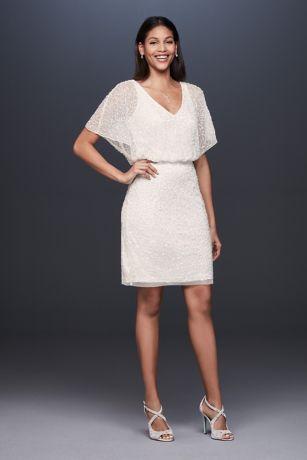 34f008e4a630e Short Sequin V-Neck Dress with Blouson Bodice   David's Bridal