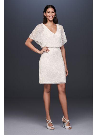 c0a16964 Short Sequin V-Neck Dress with Blouson Bodice | David's Bridal