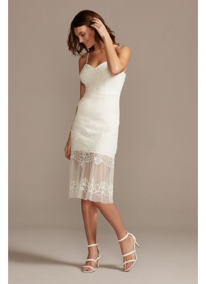 Beaded Crepe Sheath Midi Dress with Sheer Flounce - Sleek and simple with a little something extra,