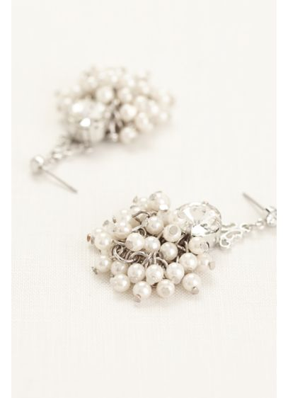 Pearl Rhinestone Mini Chandelier Earrings - Wedding Accessories