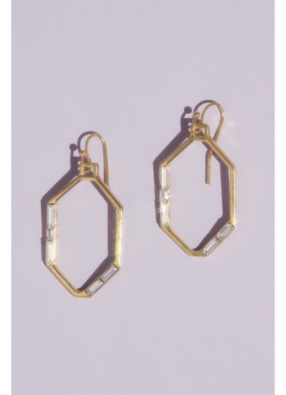 Gilded Hexagon Earrings with Baguette Crystals - For a unique addition to any look, wear