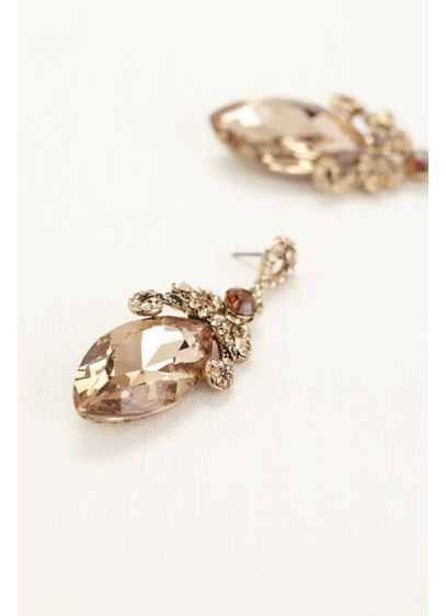 Large Faceted Gemstone Drop Earrings - Wedding Accessories