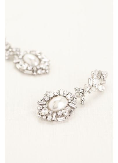 David's Bridal White (Deco Rhinestone Pearl Statement Earrings)
