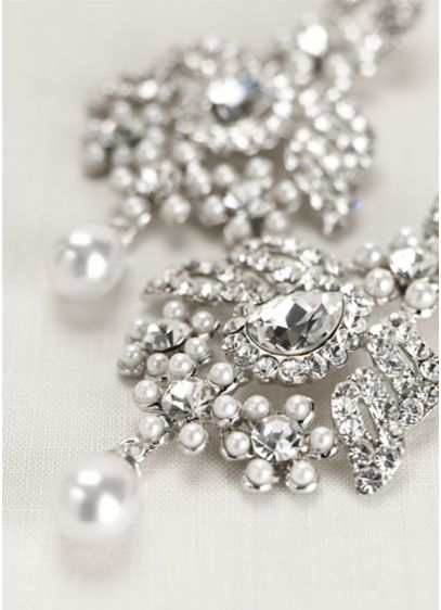 Pearl And Crystal Chandelier Earrings Wedding Accessories