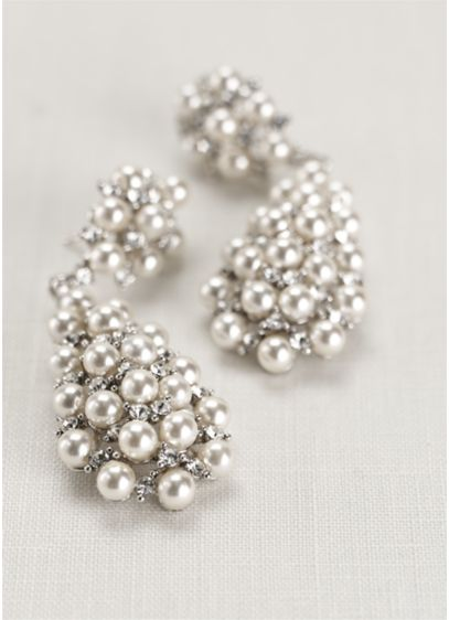 Pearl And Crystal Drop Earrings Wedding Accessories