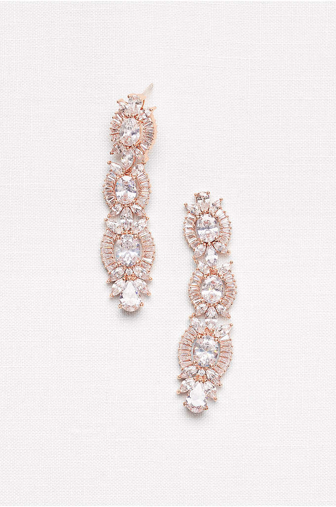 Linear Crystal Sunburst Earrings - Make a sparkling statement in these dramatic drop