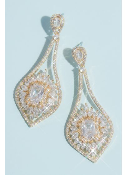 Natasha Grey (Crystal Halo Baguette Teardrop Earrings)