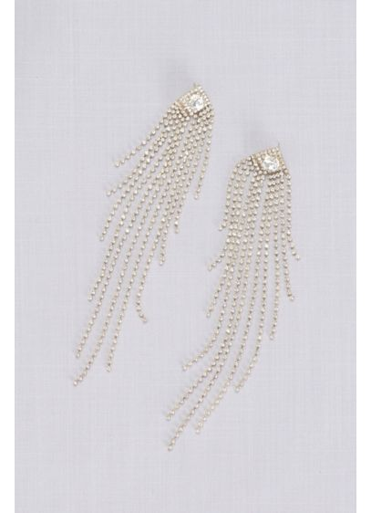 Grand Dangling Crystal Fringe Earrings - Crafted of super-long crystal fringe, these dramatic earrings