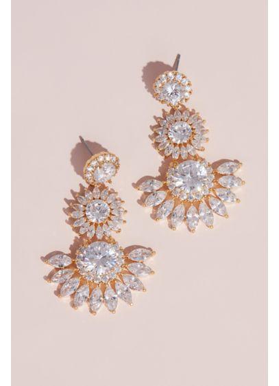 Dangling Bursting Sun Crystal Stud Earrings - Wedding Accessories