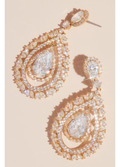 Crystal Teardrop Earrings with Dancing Pear Stone - You won't believe the sparkle of this crystal-encrusted