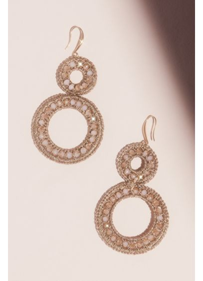 Woven Stacked Circles Drop Earrings - Wedding Accessories