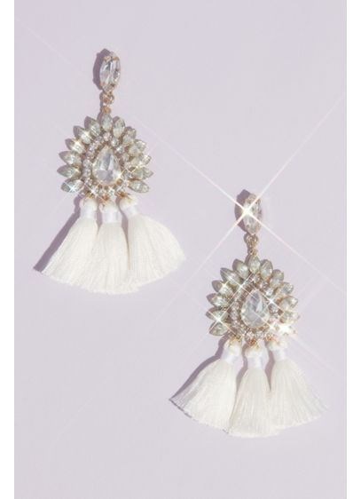 Crystal Chandelier Tassel Earrings - Wedding Accessories