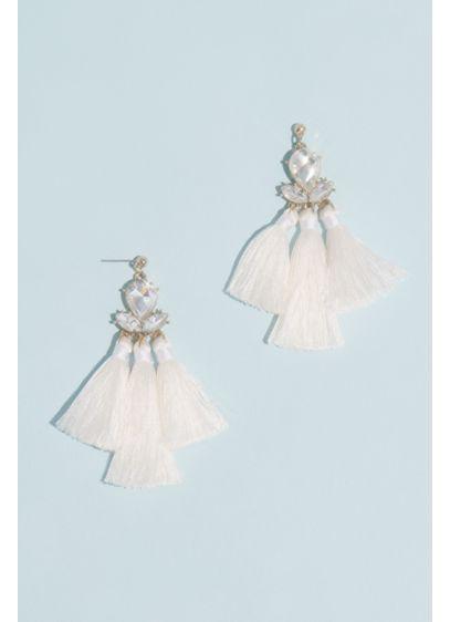 Faceted Crystal Triple Fringe Earrings - Wedding Accessories