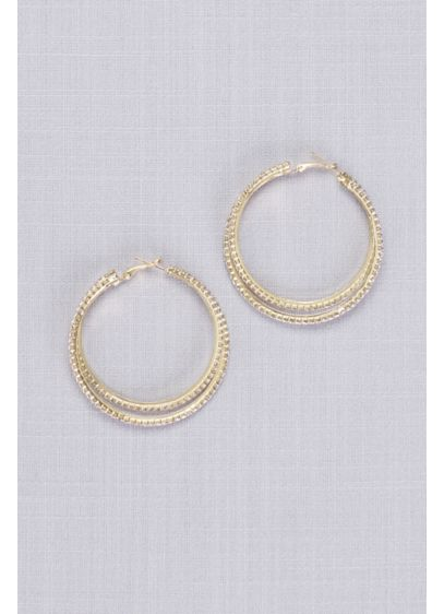 Overlapping Crystal Hoop Earrings - Wedding Accessories