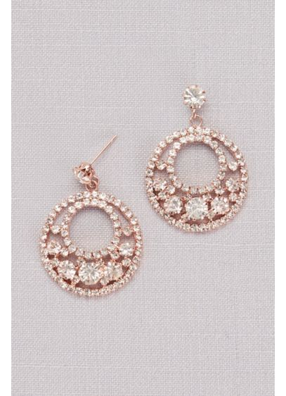 Crystal Pave Circle Drop Earrings - Wedding Accessories