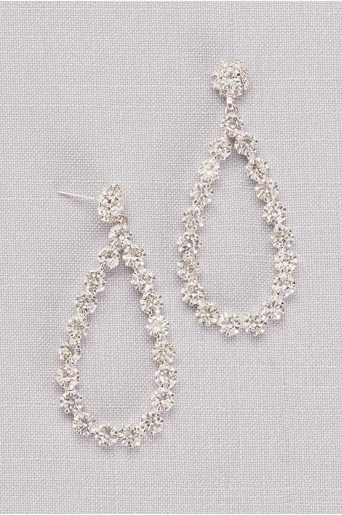 Round Crystal Teardrop Hoops - Sparkling teardrop hoop earrings, crafted of dazzling round