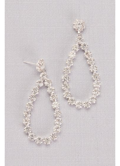 David's Bridal Grey (Sparkling Round Teardrop Hoops)