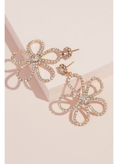 Crystal Dangling Flower Stud Earrings - Channel boho inspiration when you wear these flower