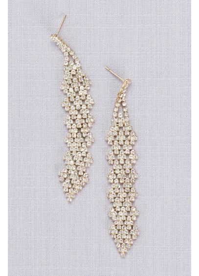 Interwoven Crystal Cluster Dangling Earrings - Wedding Accessories
