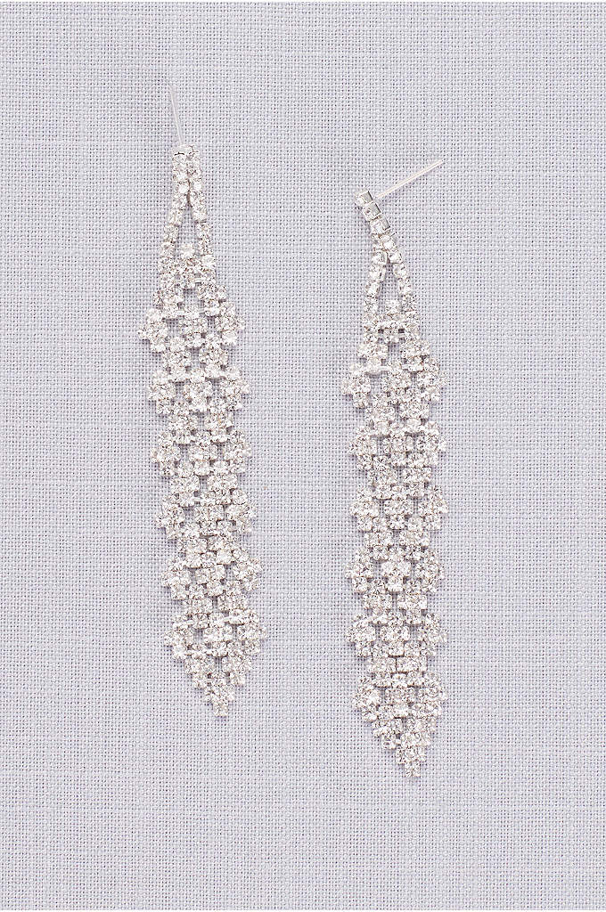 Interwoven Crystal Cluster Dangling Earrings - Accent simple strapless or V-neck dresses with this