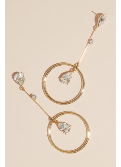 Pear Crystal Hoop Drop Earrings - A chic and simple pair, these earrings feature